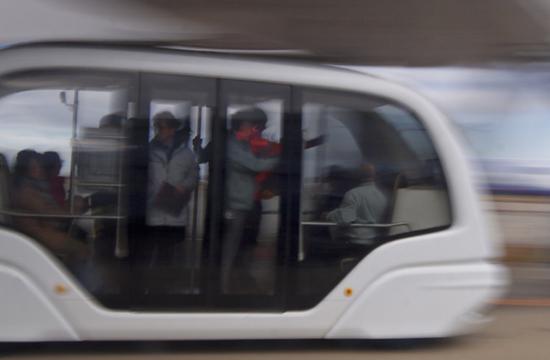 Autonomous Shuttles on the airside apron at Sendai Airport.